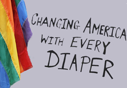 Diaper poster with flag